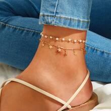 Star Charm & Faux Pearl Decor Anklet 2pcs