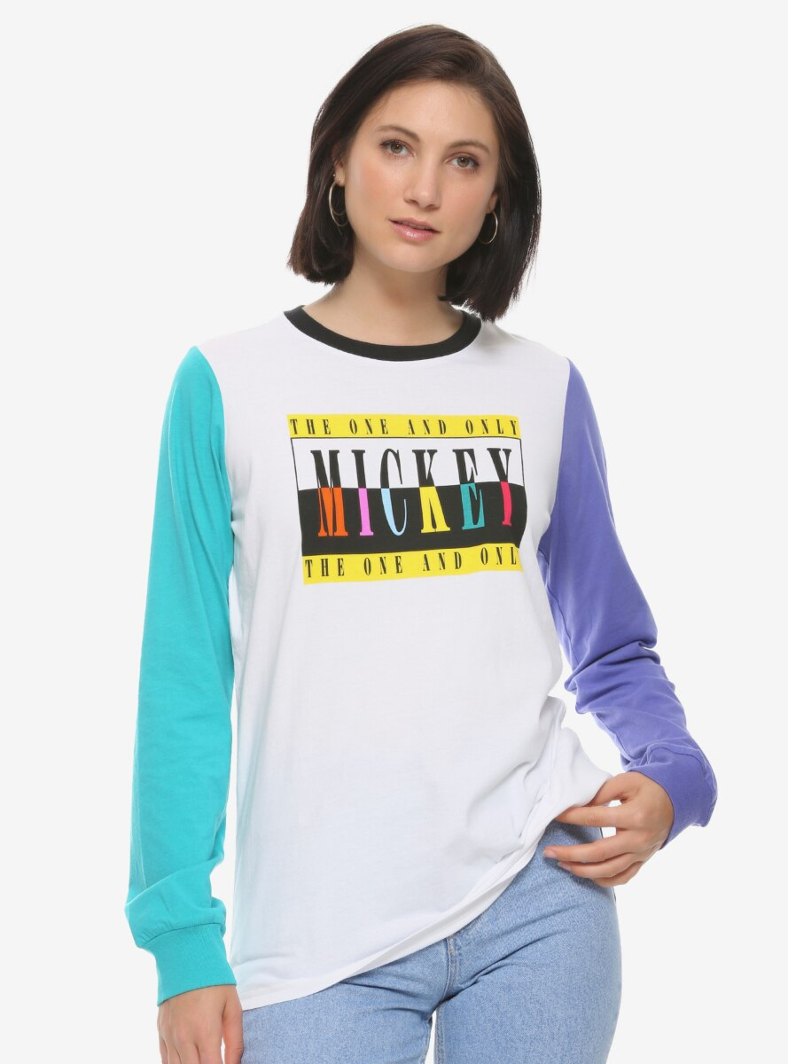 Disney Mickey Mouse Colorblock Womens Long Sleeve T-Shirt