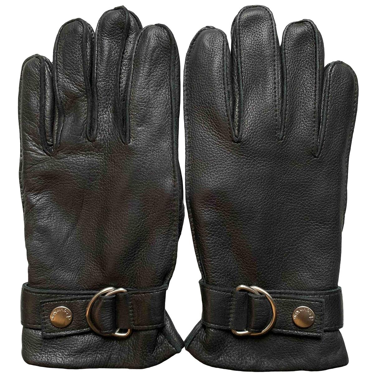 Calvin Klein \N Black Leather Gloves for Men S International
