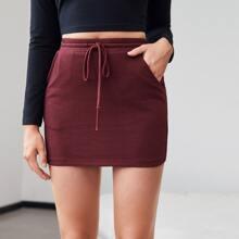 Falda ajustada de cintura con cordon unicolor