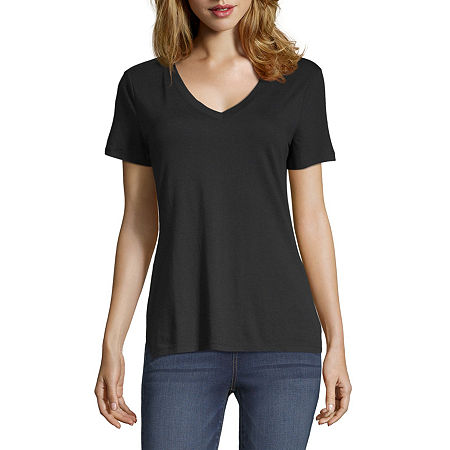 a.n.a-Tall Womens Short Sleeve V-Neck T-Shirt, Medium Tall , Black