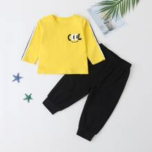 Baby Boy Striped Side Letter Graphic Tee & Sweatpants