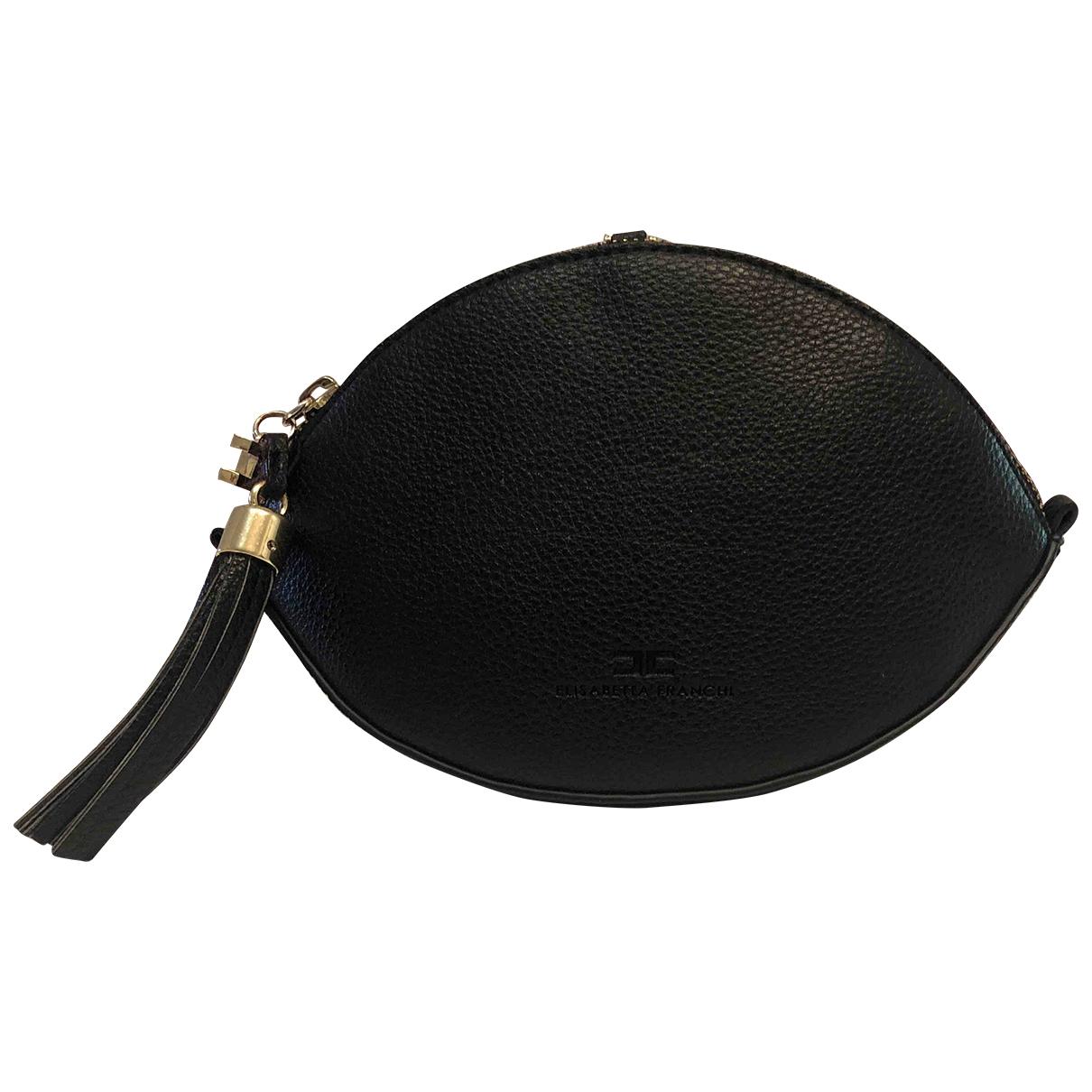 Elisabetta Franchi \N Black Leather Clutch bag for Women \N