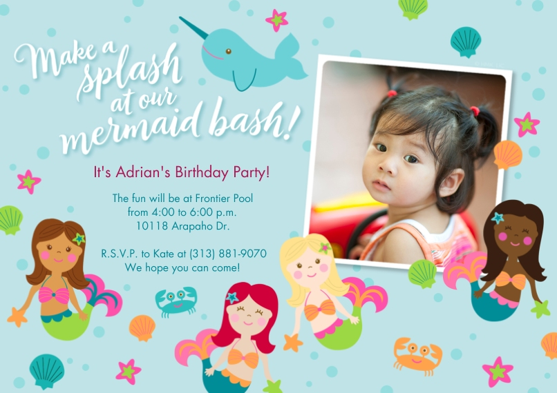 Kids Birthday Party 5x7 Cards, Premium Cardstock 120lb with Rounded Corners, Card & Stationery -Magical Mermaid Bash Invitation by Hallmark