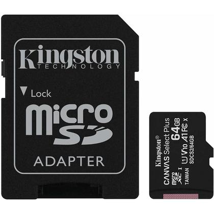 Kingston micSDHC Canvas Select Plus MicroSD Card + SD card adapter (SDCS2) - 64GB