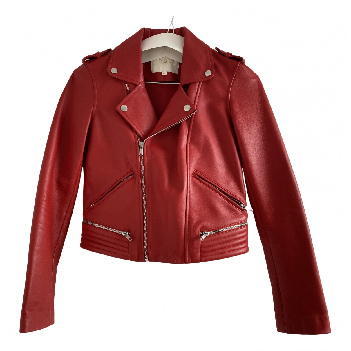Maje \N Red Leather Leather jacket for Women 36 FR