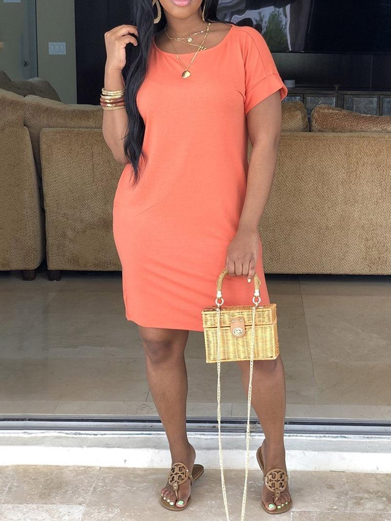 Ericdress Straight Above Knee Round Neck Short Sleeve Plain Dress