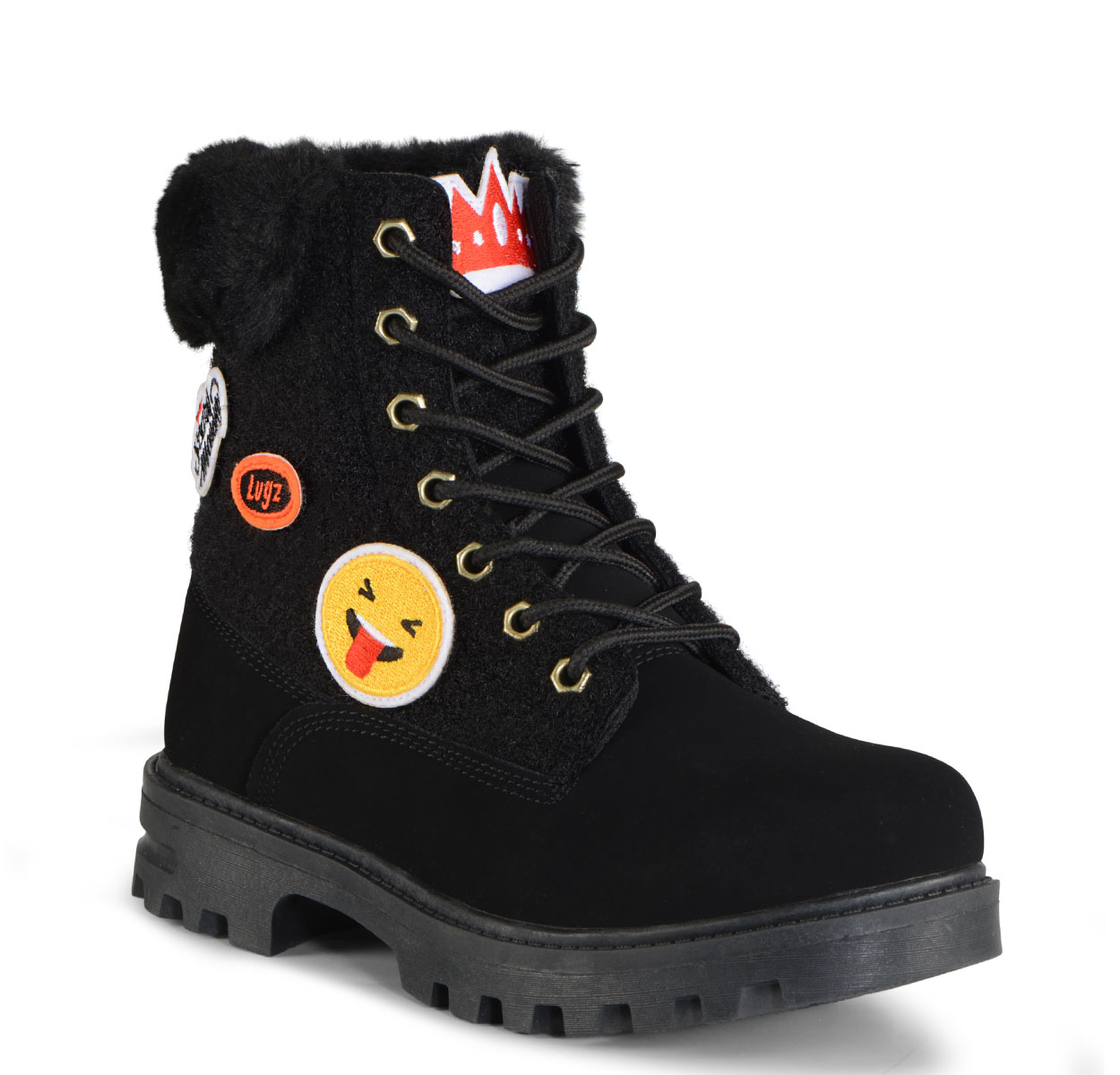 Gradeschool Empire Hi Fur X Scary Mommy 6-Inch Boot (Choose Your Color: BLACK, Choose Your Size: 5.0)