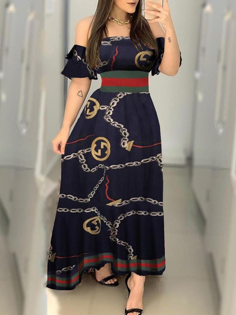 Ericdress Off Shoulder Short Sleeve Print Pullover Summer Dress