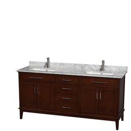 WCV161672DCDCMUNSMXX 72 in. Double Bathroom Vanity in Dark Chestnut  White Carrera Marble Countertop  Undermount Square Sinks  and No