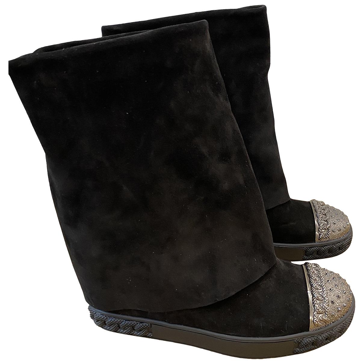 Casadei - Bottes   pour femme en suede - noir