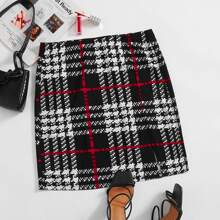 Plus Split Hem Plaid Skirt