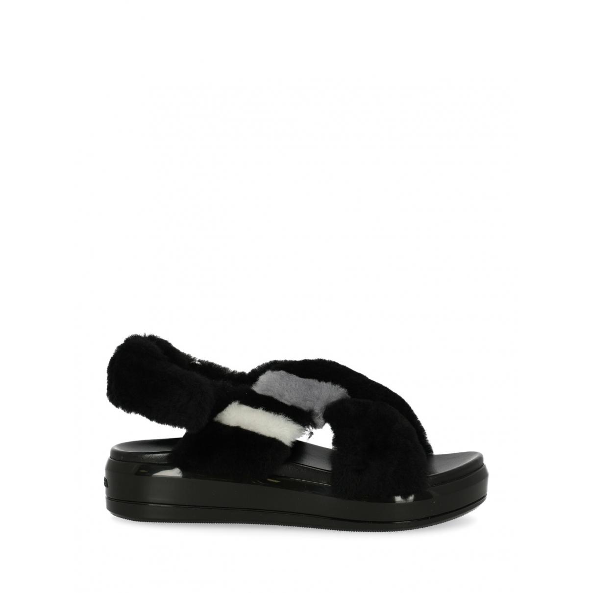 Prada - Sandales   pour femme en fourrure - noir