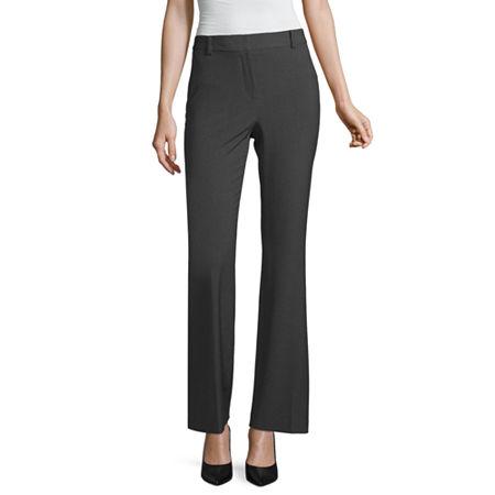 Liz Claiborne Curvy Fit Elizabeth Secretly Slender Bootcut Trousers, 4 , Gray
