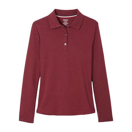 French Toast Big Girls Plus Long Sleeve Stretch Polo Shirt, 18-20 Plus , Red
