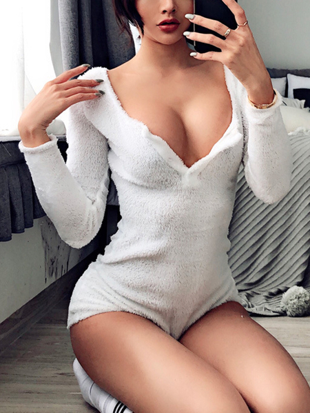 Yoins White Fleece Button Design Deep V Neck Long Sleeves Bodysuit