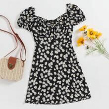 Mildmaid Kleid mit Band vorn und Bluemchen Muster
