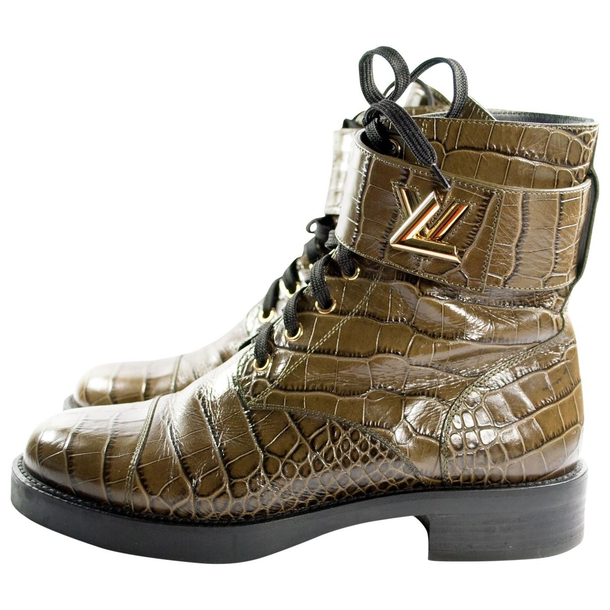 Louis Vuitton Wonderland Khaki Patent leather Ankle boots for Women 39 EU
