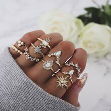 Rhinestone Detail Ring Set 10pcs