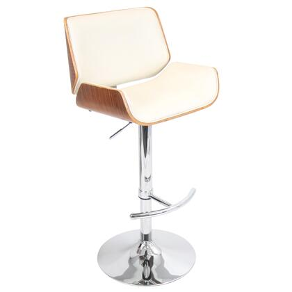 BS-JY-SNT WL+CR Santi Height Adjustable Mid-century Modern Barstool with Swivel in Walnut and
