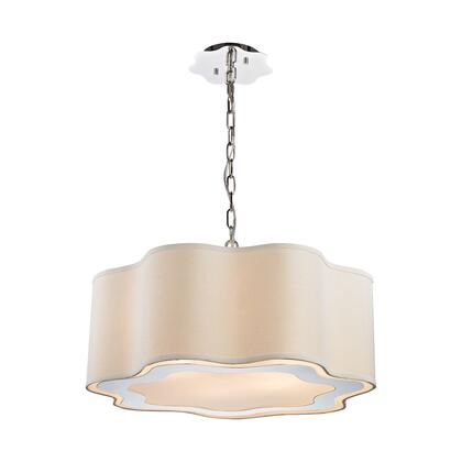 1140-019 Villoy 6 Light Drum Pendant  In Polished Stainless Steel And