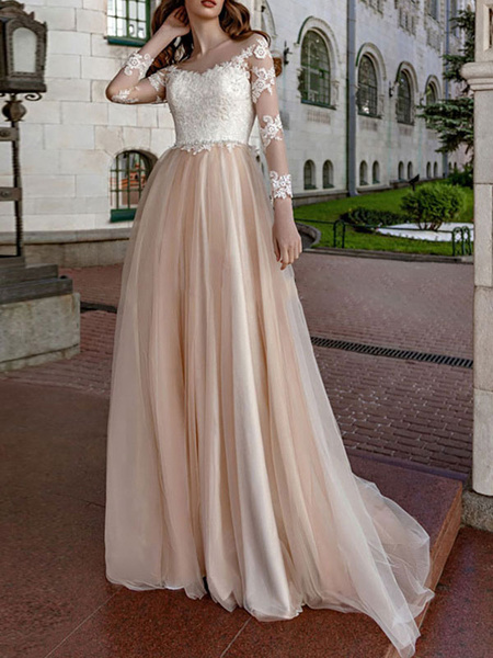 Milanoo simple wedding dress 2020 a line v neck long sleeve lace applique tulle bridal gowns beach wedding dresses