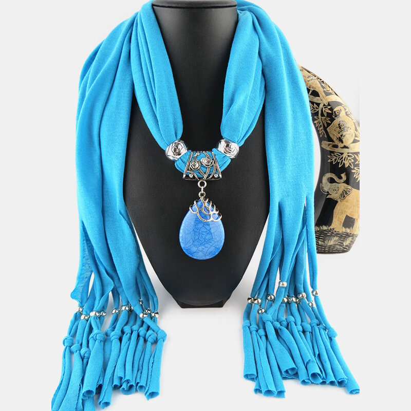 Bohemian Dacron Multi-layer Necklace Handmade Teardrop Pendant Tassel Women Scarf Shawl Necklace