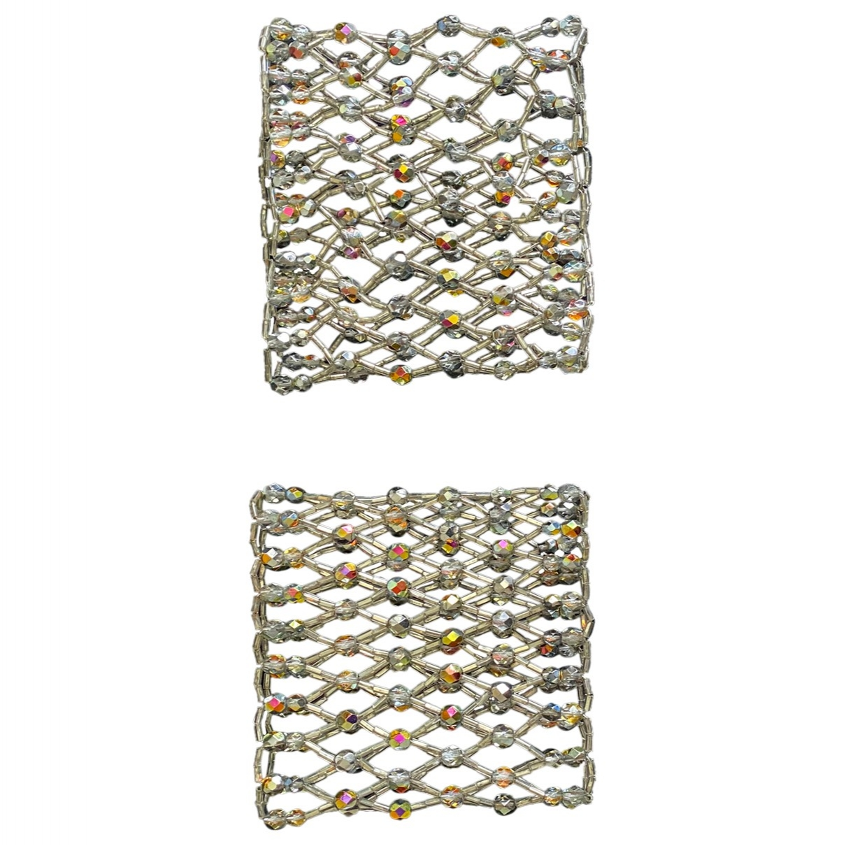 Non Signe / Unsigned Manchette Armband in  Silber Perlen