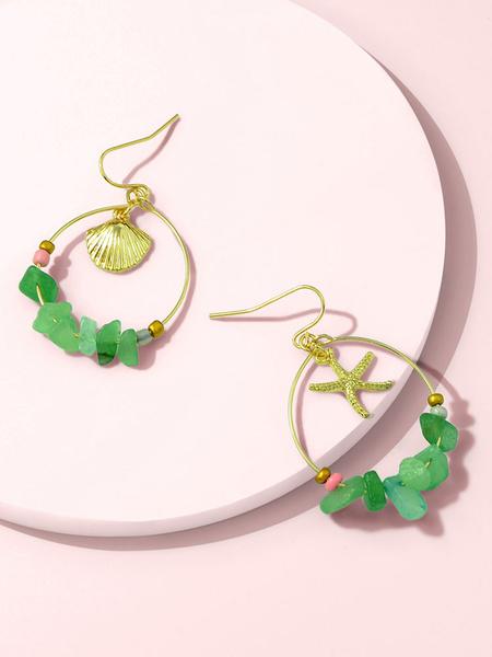 Milanoo Earrings Blond Shell Crystal Metal Pierced Women Jewelry