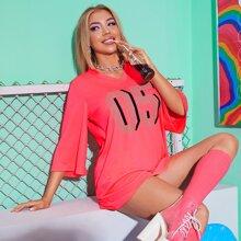 Neon rosa langelinie T-Shirt mit Buchstaben Grafik