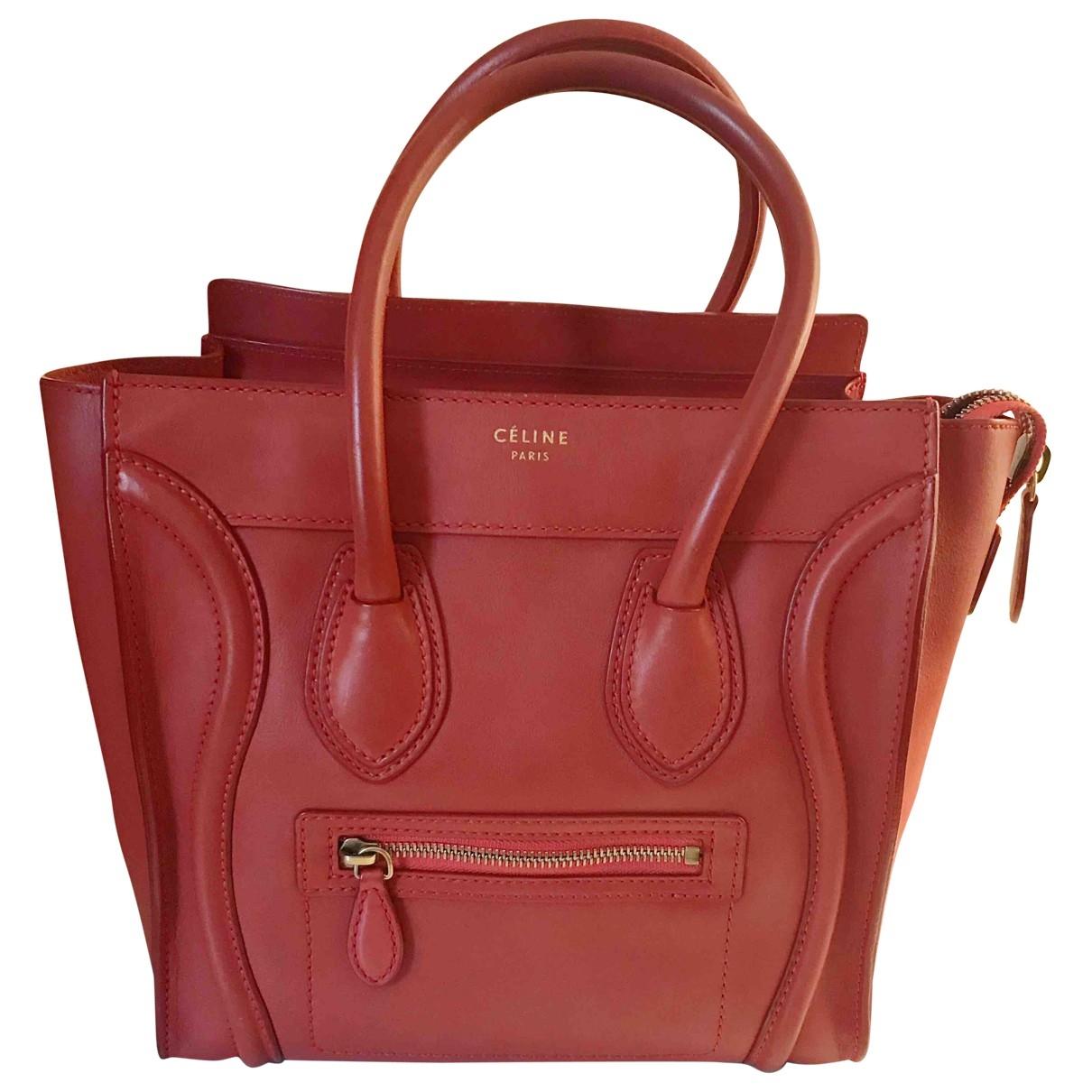 Celine Luggage Handtasche in  Rot Leder