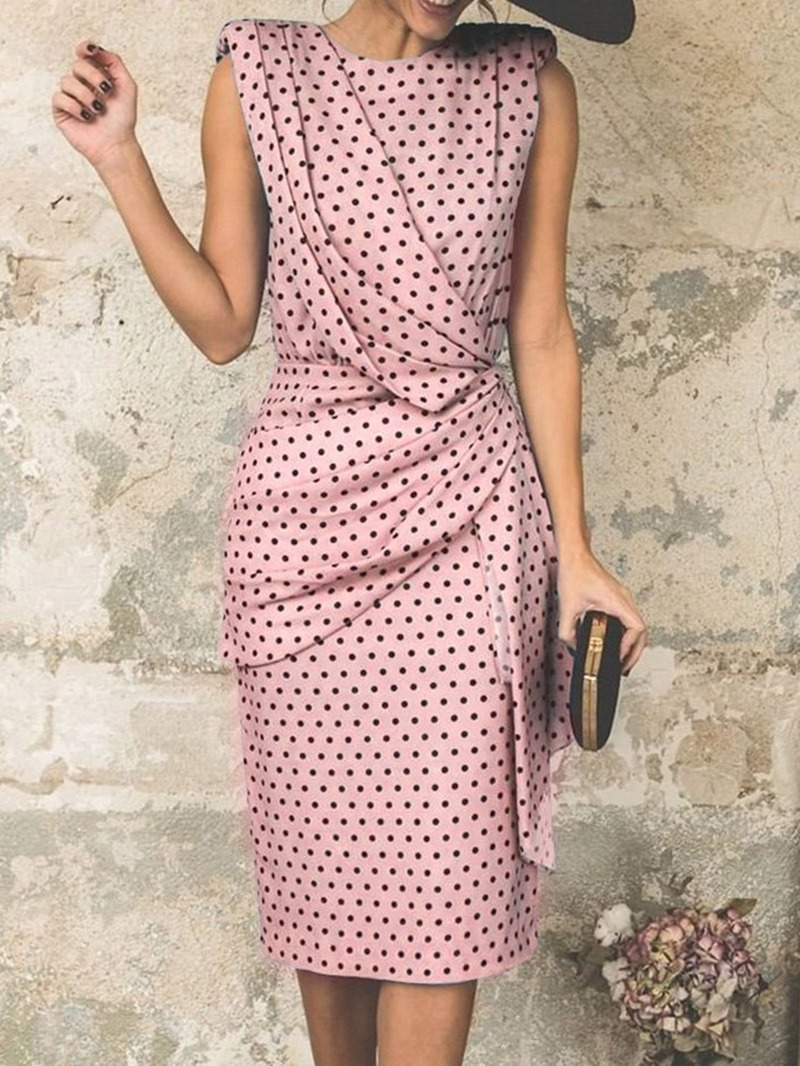 Ericdress Round Neck Sleeveless Knee-Length Fashion High Waist Dress