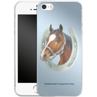 Apple iPhone 5s Silikon Handyhuelle - Pferdefreunde Hufeisen Blau von Pferdefreunde