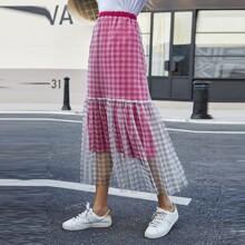 Gingham Contrast Mesh Ruffle Hem Skirt