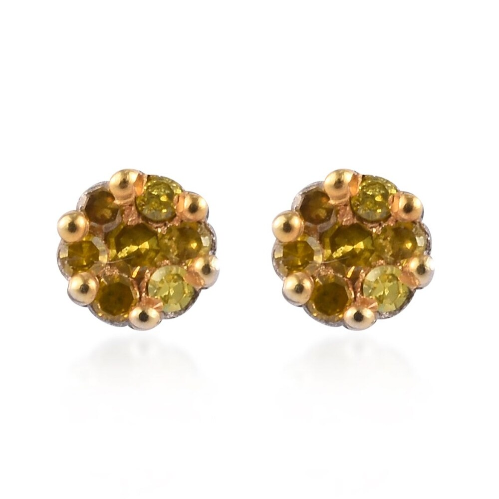 Platinum Over 925 Sterling Silver Yellow Diamond Earrings Ct 0.3 (Yellow)