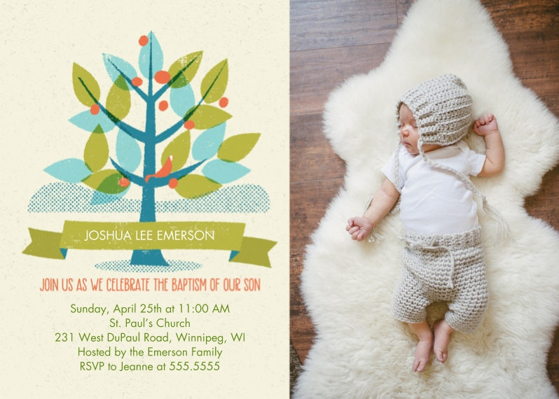 Baptism Invitations 5x7 Cards, Premium Cardstock 120lb with Scalloped Corners, Card & Stationery -Boy Baptism Tree
