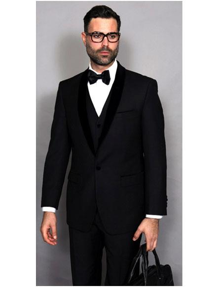 Mens Statement Tuxedo Black 1 Breasted Fit Shawl Lapel 1Button Suit