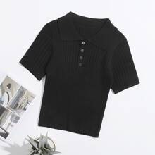 Half Button Rib-knit Crop Top