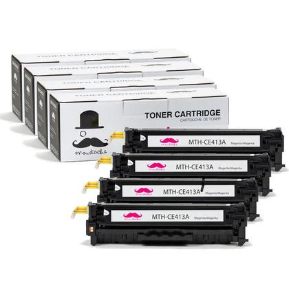 Compatible HP 305A CE413A Magenta Toner Cartridge - Moustache@ - 4/Pack