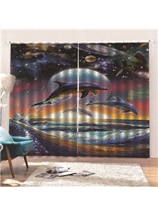 100% Eclipse Blackout Decorative 3D Animal Print Curtains with Jumping Dolphins in the Galaxy