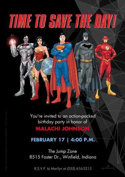Kids Birthday Party 5x7 Cards, Premium Cardstock 120lb with Elegant Corners, Card & Stationery -Justice League Save the Day