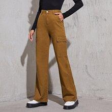 High Waisted Slant Pocket Cargo Jeans Without Belt