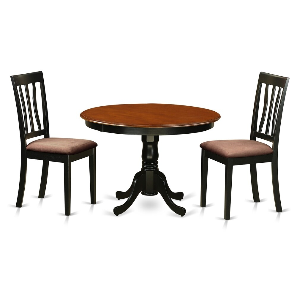 HLAN3-BCH  3 Pc Set with a Kitchen Table and 2  Dinette Chairs (Microfiber/Rubberwood)