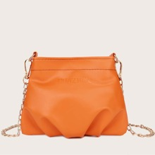 Mini Ruched Decor Chain Crossbody Bag