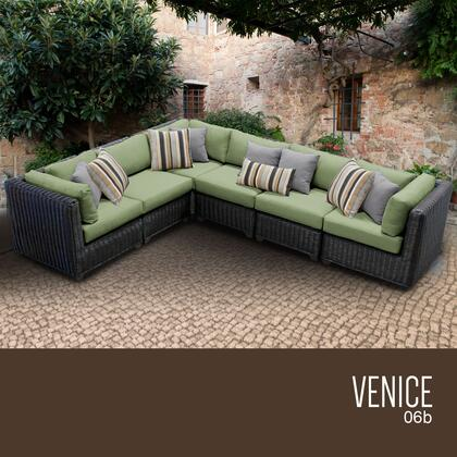 VENICE-06b-CILANTRO Venice 6 Piece Outdoor Wicker Patio Furniture Set 06b with 2 Covers: Wheat and
