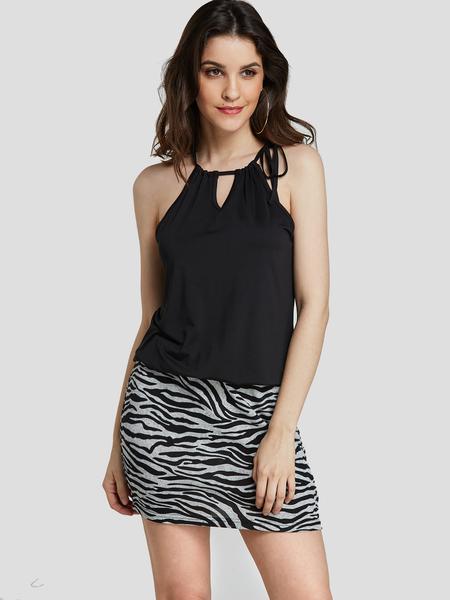 YOINS Black Adjustable Neck Strap Zebra Print Mini Dress