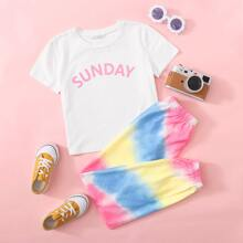 T-Shirt mit Buchstaben Grafik & Jogginghose Set mit Batik