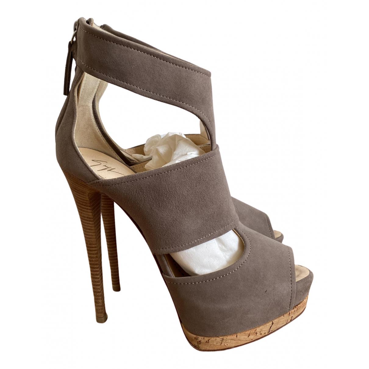 Giuseppe Zanotti N Beige Leather Heels for Women 37 EU