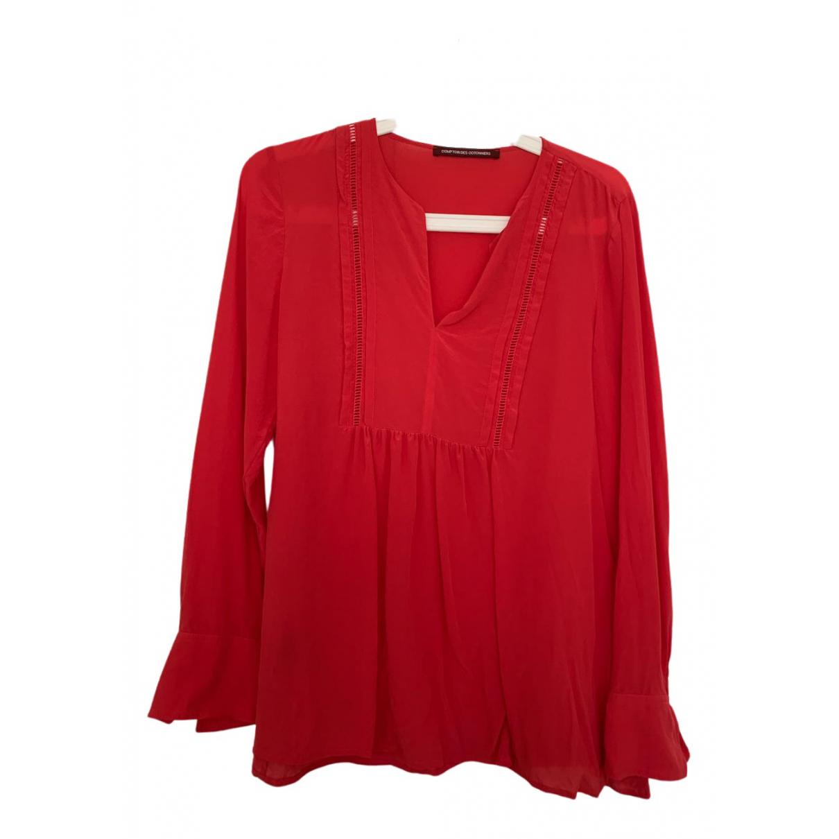 Comptoir Des Cotonniers N Red Silk  top for Women 36 FR