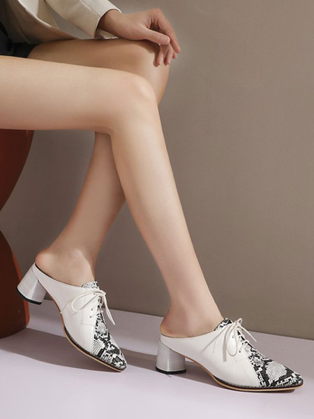 Milanoo Women\'s Mules Clogs PU Leather Black Square Toe Snake Print Shoes Strap Adjustable Mules